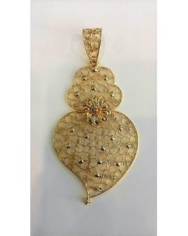 Coração com Granitos em Ouro